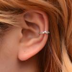 Vintage Crown Flower Leaf Ear Cuff Non Pierced Clip Earrings