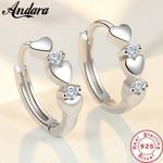 Silver Earrings Heart Zircon Small Earrings