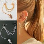 Earrings Jewelry Fashion Metal Ear Clip Leaf Tassel Earrings