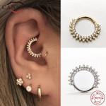Stud Earrings Silver Zircon Round