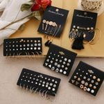 12 Pairs Flower Earrings Set Pearl Crystal Stud Earrings