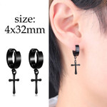 Black Multiple Styles Steel Stud Earrings