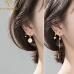 Silver Retro Circle Star Zircon Long Earrings
