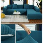 Plush Fabirc Elastic Sofa Cover Solid L Shape Sofa Covers