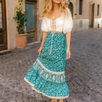 Vintage Floral Print Long Skirts High Waist Midi Skirt Boho Casual