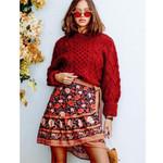 Bella Rosa Mini Skirt Boho Ruffle Contrasting Pattern Ties Wrap Skirts