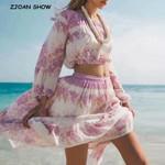 Bohemian Stream Flower Print Long Skirt Stitching Ruched Ruffle Hem
