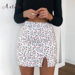 High Waist Flower Print Side Split Mini Skirt