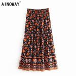 Vintage floral print Bohemian skirt ladies rayon A-Line