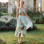 Boho Maxi Dress Ruffles Crop Top Long Skirt Two Piece Set