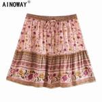 Vintage chic floral print beach Bohemian skirt rayon A-Line