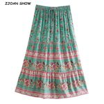 Bohemia Floral Print Long Turquoise Spliced Ruched Ruffle Swing Skirts
