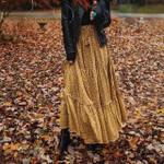 Hippie Bohemian yellow floral A-Line Boho Maxi Skirt Femme