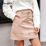 Vintage autumn leather women pencil skirt High waist
