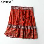 Hippie women red floral printed tassel beach Bohemian skirt