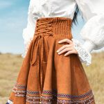 Women Vintage Elegant Short Skirt Bohemia High Waist Embroidery