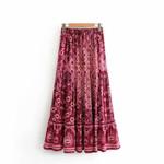 ashion Hippie  floral printed Bohemian Maxi skirts Ladies rayon Boho Skirts