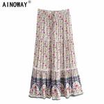 Vintage women floral print Bohemian pleated skirt