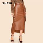 Brown Elegant Split Hem Front Double Button Belted Leather Skirt