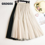 Mesh Women Pleated Skirt Solid High Waist A Line Tulle Skirts