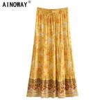 chic Hippie High Elastic Waist  Boho Maxi Skirt