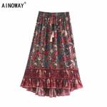 Hippie birds floral print  beach Bohemian pleated skirt