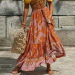 long Skirts for Women Vintage floral print elastic waist boho