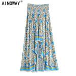 Vintage floral skirt High Elastic irregular Maxi Skirt