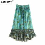 Hippie  green floral print  beach Bohemian pleated skirt