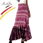 Vintage Women Floral Print Boho Skirt Lace Up
