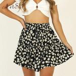 Daisies Floral Print Mini Skirt Boho Casual