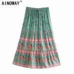 Vintage green floral Waist rayon cotton Boho Maxi Skirts