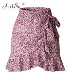 Polka Dot Print Wrap Skirts Ruffles High Waist