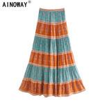 patchwork floral print beach Bohemian rayon cotton Boho Maxi Skirts