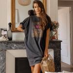 Retro Leopard Print Long T-Shirt Pullover Tops Cotton