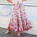 Boho Floral Print Maxi Skirt Elastic High Waist A-Line