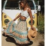 Skirt Women Paisley Floral Print Skirts Casual Vintage A-Line