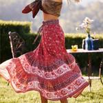Retro Floral Paisley Print Skirt Elastic Waist Casual Women Skirts