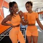 Seamless Sport Set Women Long Two 2 Piece Crop Top