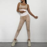 Snakeskin Yoga Sets Seamless Legging Fitness Suits 2 Pieces
