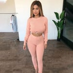 Solid 2 Two Piece Set Bodycon Sport Fitness Tracksuit