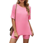 Two Piece Set Casual Loose Tracksuit Women Shorts+Short Sleeve Shirts