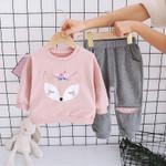 Girls Clothes Set Children Turn Down Collar Tops +Pants 2Pcs Suit