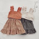 Kids Baby Girl Clothes Set Tops Solid Sleeveless shirt Crop Plaid A-Line Skirt