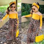3PCS Toddler Baby Kids Girl Clothes Off Shoulder Tops Fashion