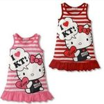 Baby Girls Striped Sleeveless Dress Cotton Cartoon Dress
