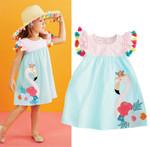 1-6 Years Baby Girl Flamingo Print Striped Baby Girls Dress