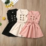 Toddler Baby Girls Retro Sleeveless Double-Breasted Windbreaker Dress