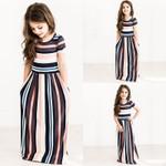 Baby Girl Striped Print Long Dress Toddler  Bohemian Dress Kids