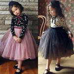 Girls Flower Lace Long Sleeve Backless Tulle Dresses